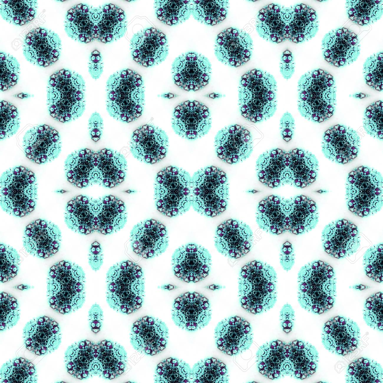 Abstract flowers seamless pattern background. Kaleidoscope from flowers. Hydraulic tile design. - 104075062