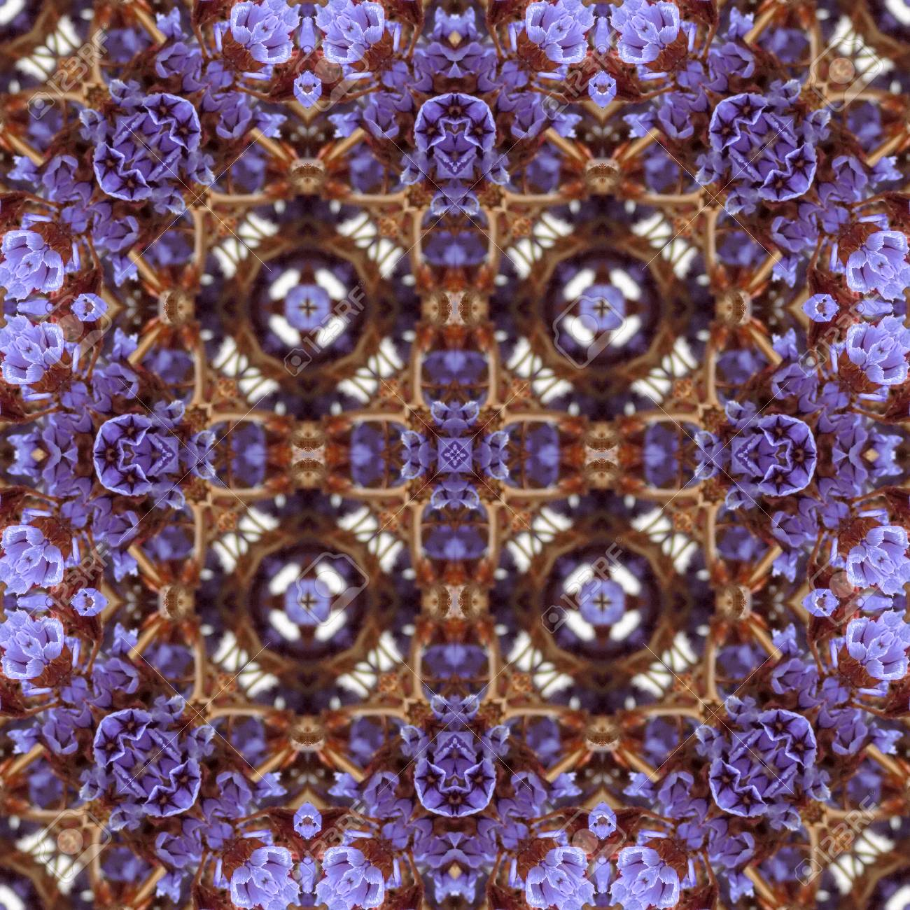 Abstract flowers seamless pattern background. Kaleidoscope from flowers. Hydraulic tile design. - 104075065