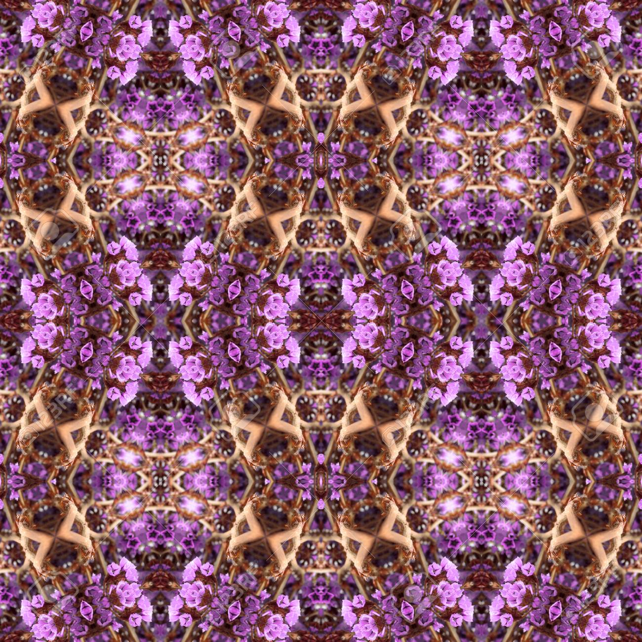 Abstract flowers seamless pattern background. Kaleidoscope from flowers. Hydraulic tile design. - 104075079