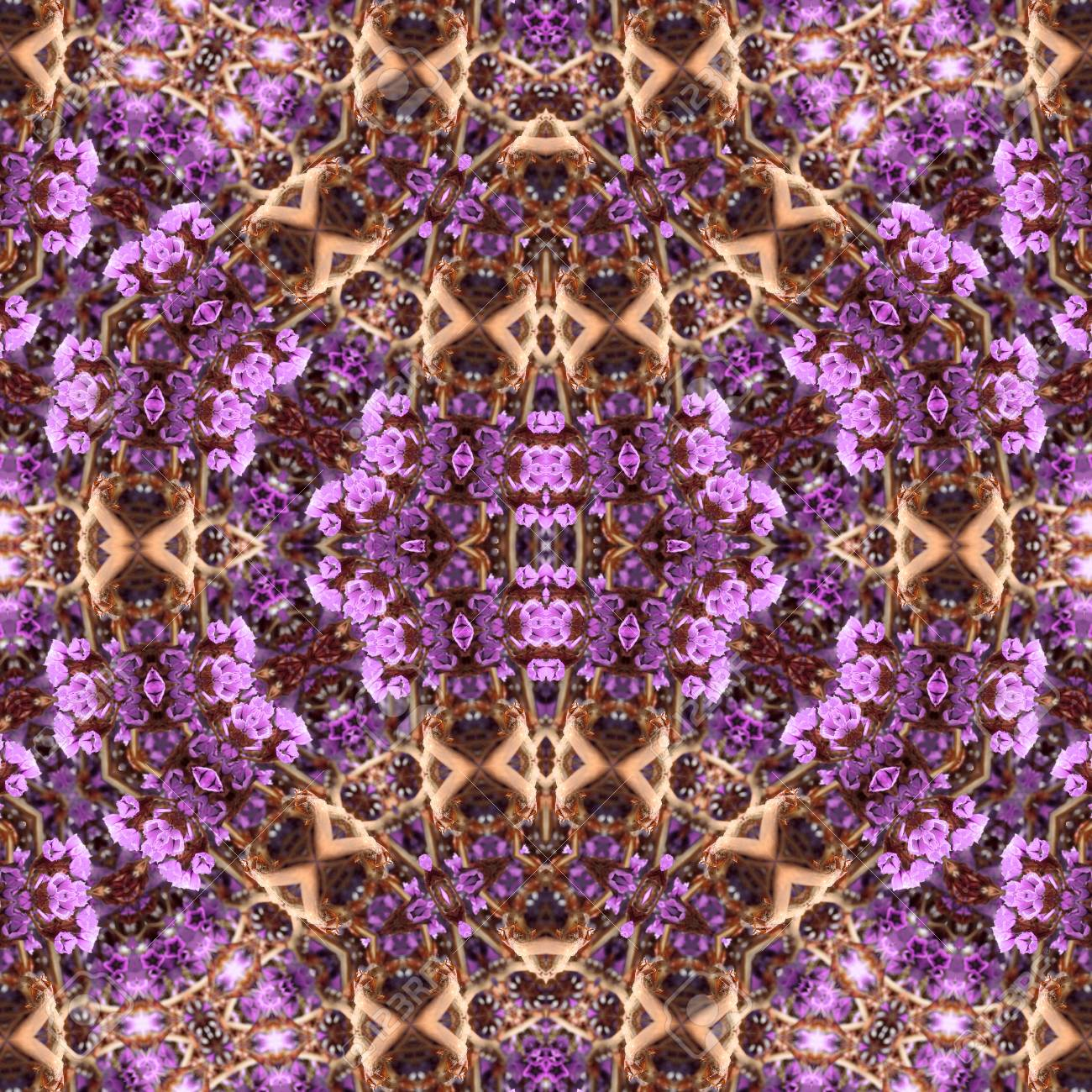 Abstract flowers seamless pattern background. Kaleidoscope from flowers. Hydraulic tile design. - 104075081