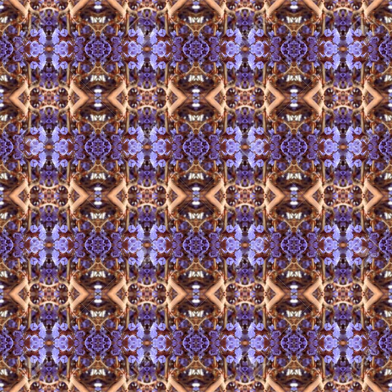 Abstract flowers seamless pattern background. Kaleidoscope from flowers. Hydraulic tile design. - 104075082