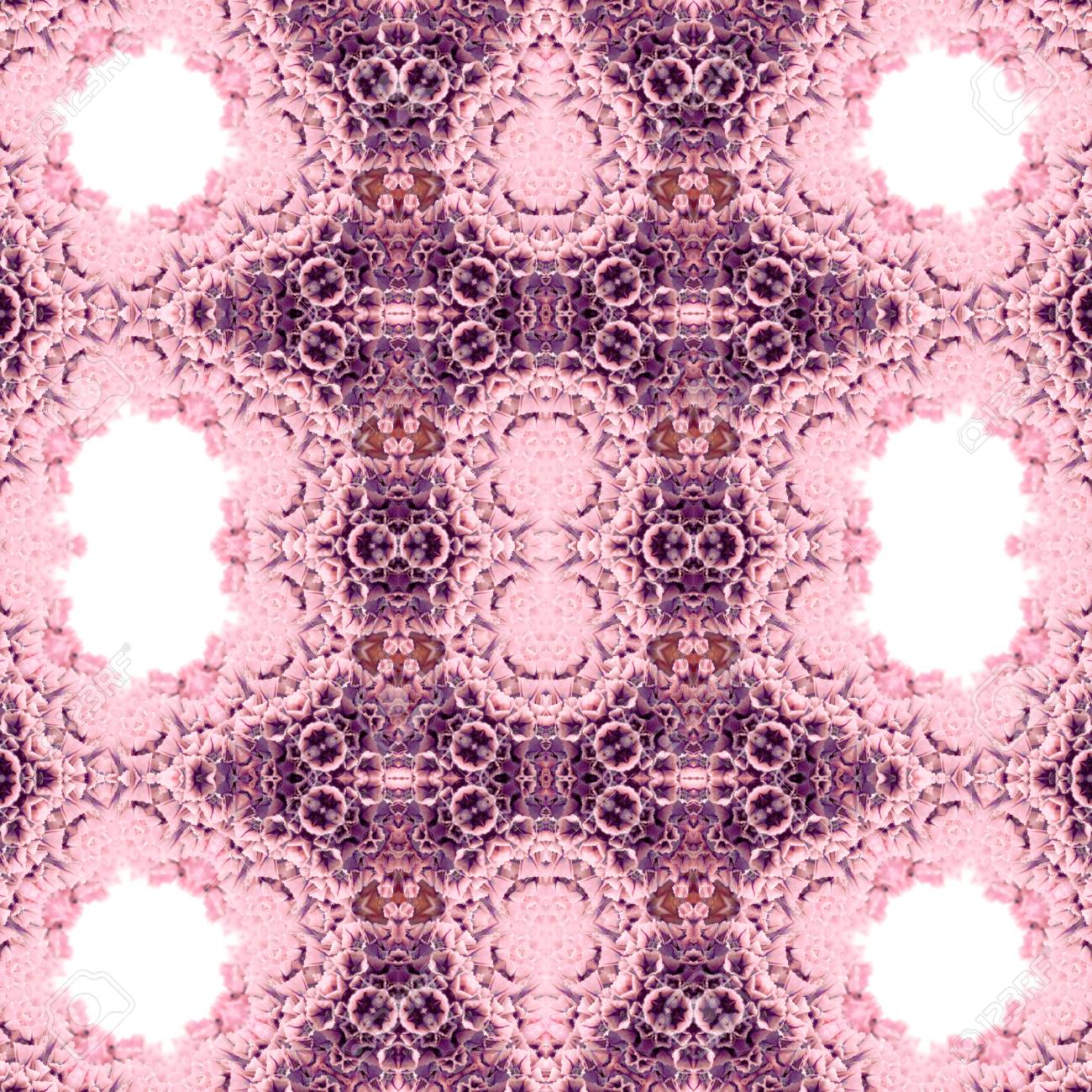 Abstract flowers seamless pattern background. Kaleidoscope from flowers. Hydraulic tile design. - 104075087