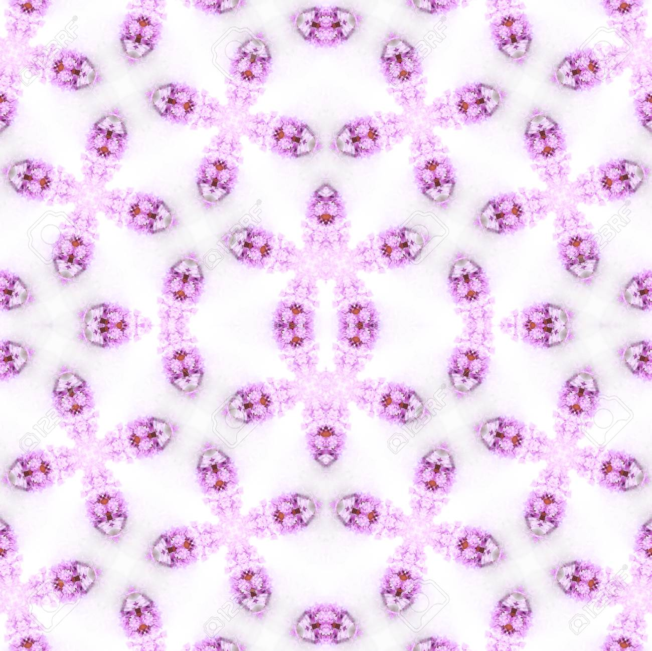 Abstract flowers seamless pattern background. Kaleidoscope from flowers. Hydraulic tile design. - 104074708
