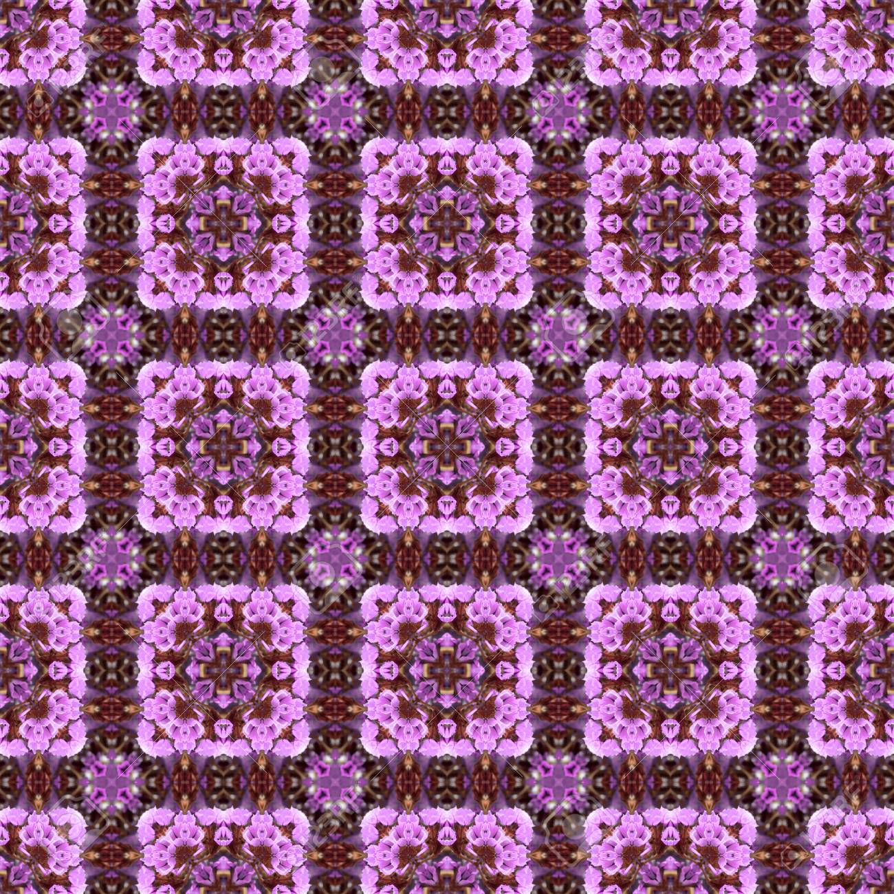 Abstract flowers seamless pattern background. Kaleidoscope from flowers. Hydraulic tile design. - 104074711