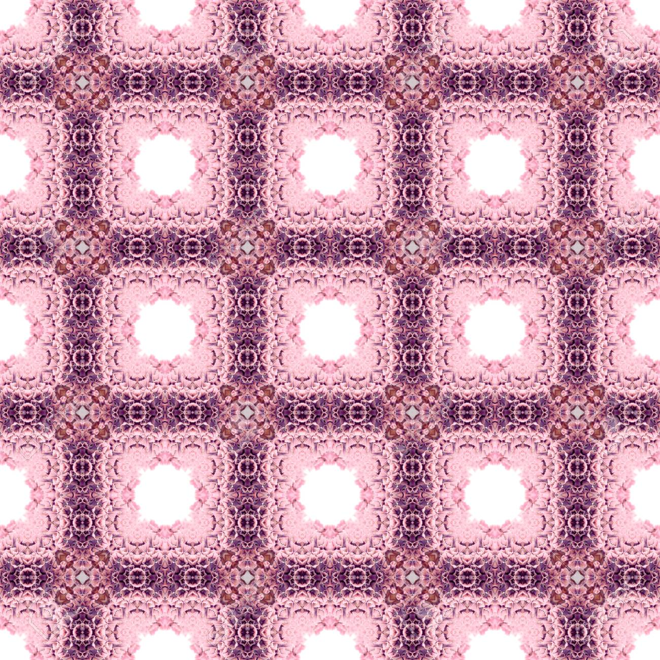 Abstract flowers seamless pattern background. Kaleidoscope from flowers. Hydraulic tile design. - 104074712