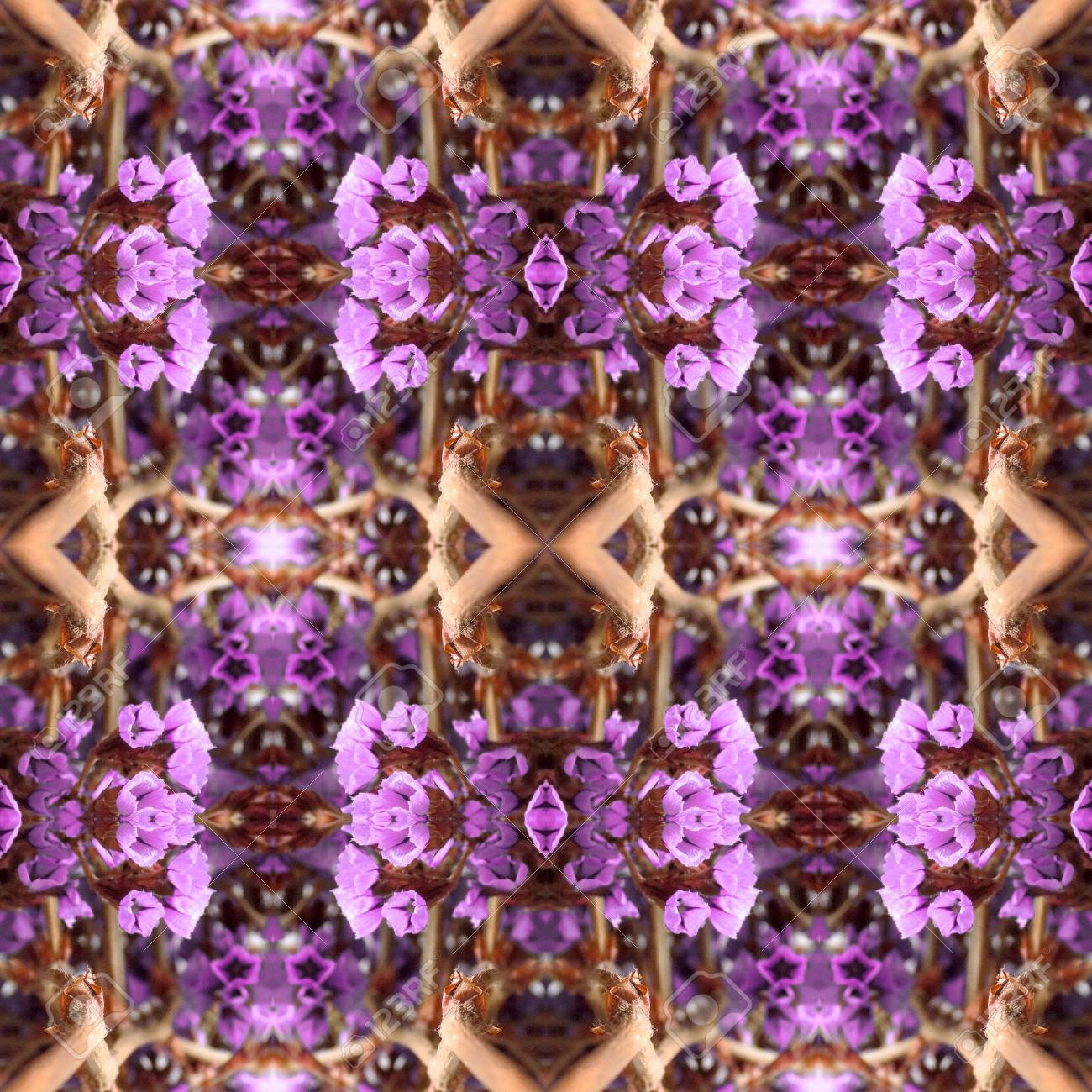 Abstract flowers seamless pattern background. Kaleidoscope from flowers. Hydraulic tile design. - 104074713