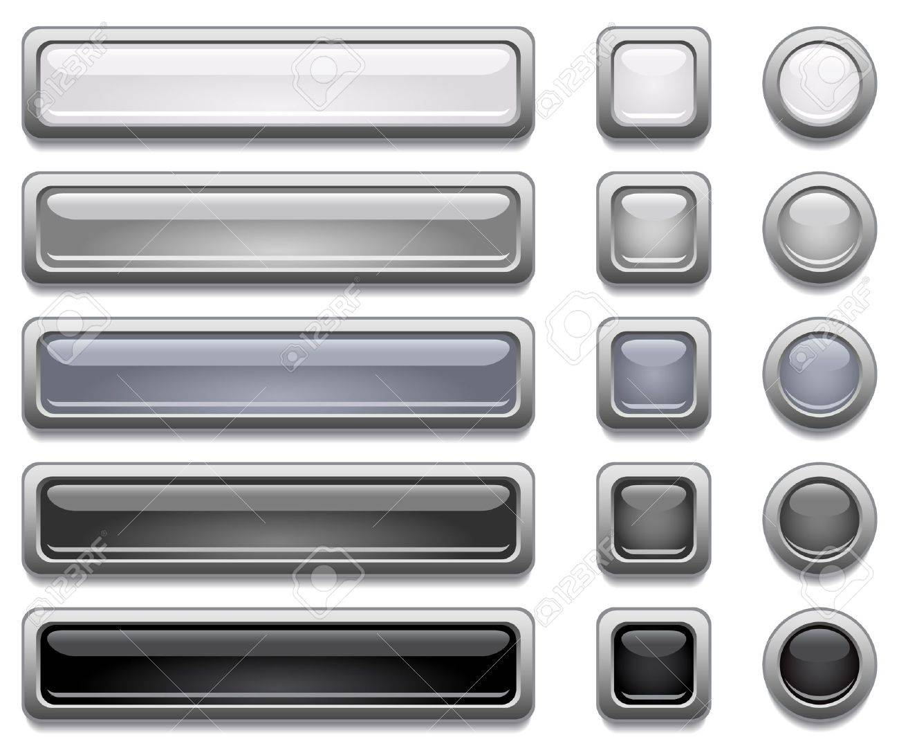 Black, white and gray shiny vector buttons Stock Vector - 12379055