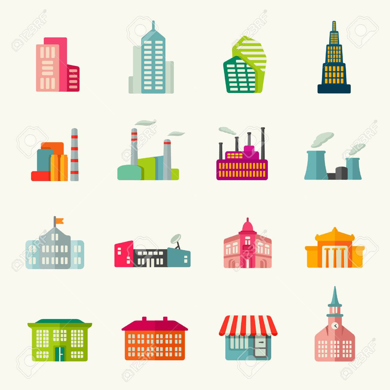 Buildings icon set - 40243411