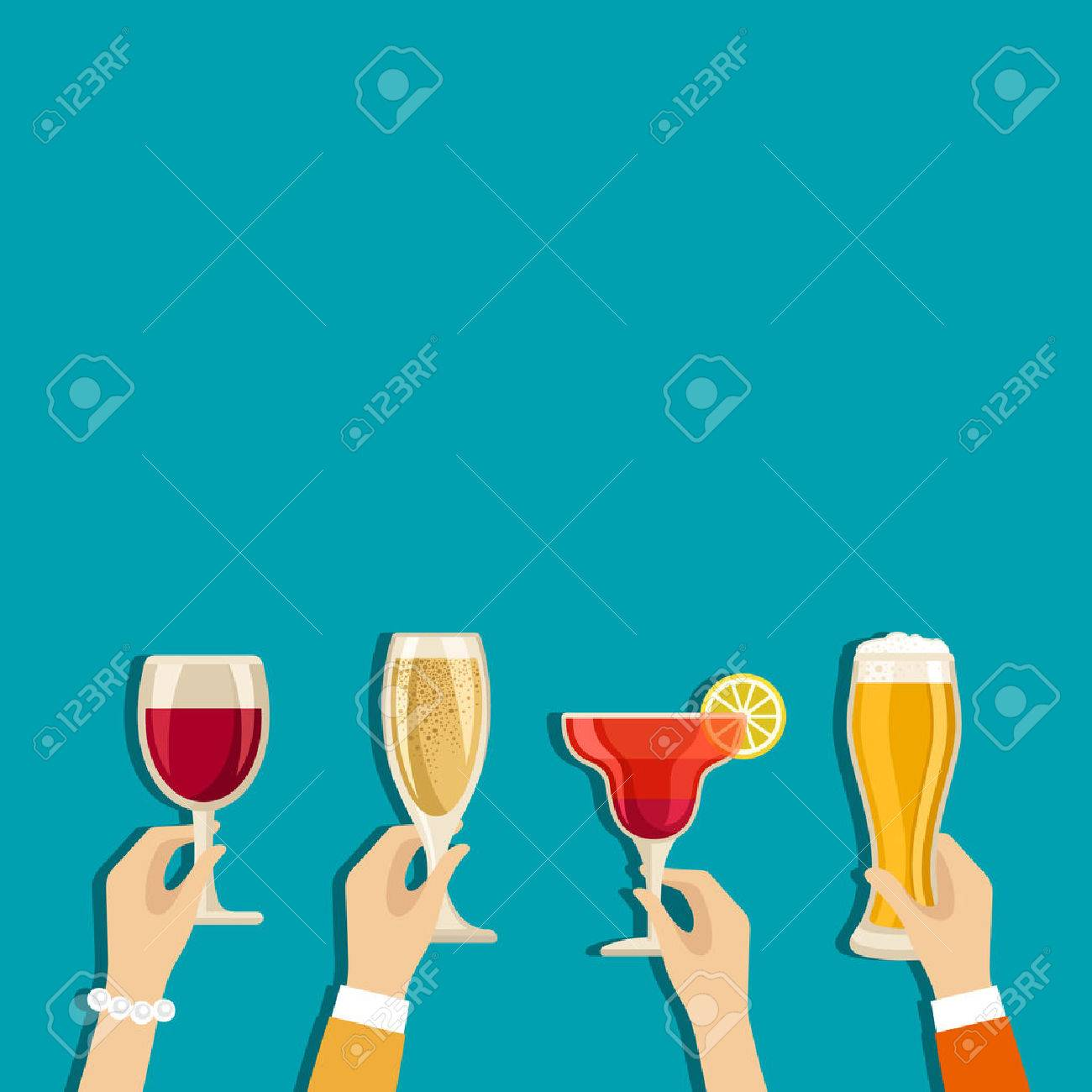 Cheers hands vector poster with place for text - 43211023