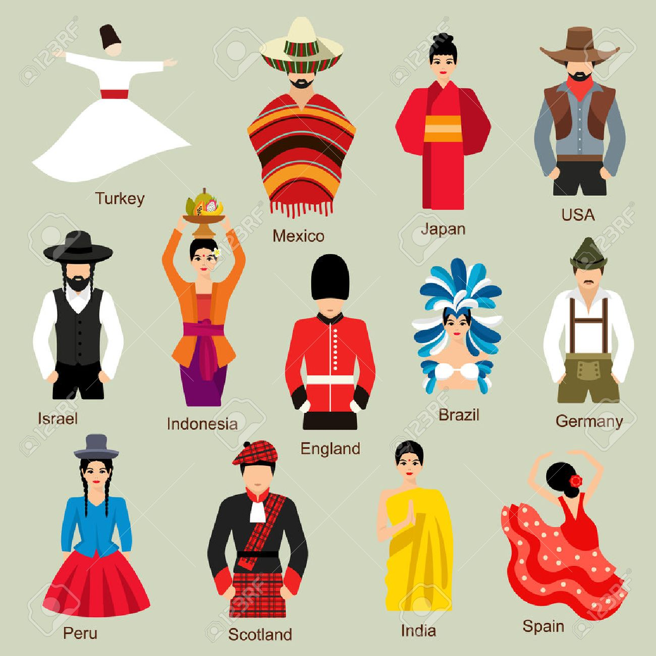traditional costumes royalty free cliparts vectors and stock