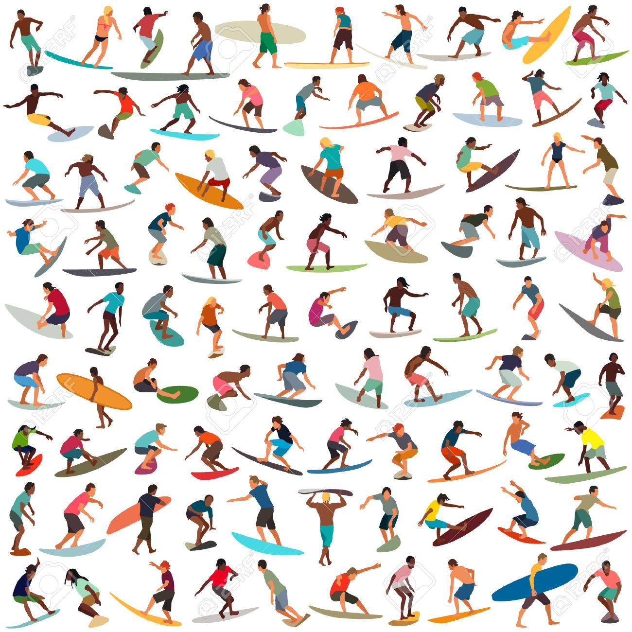 Large collection of vector surfers - 52359025