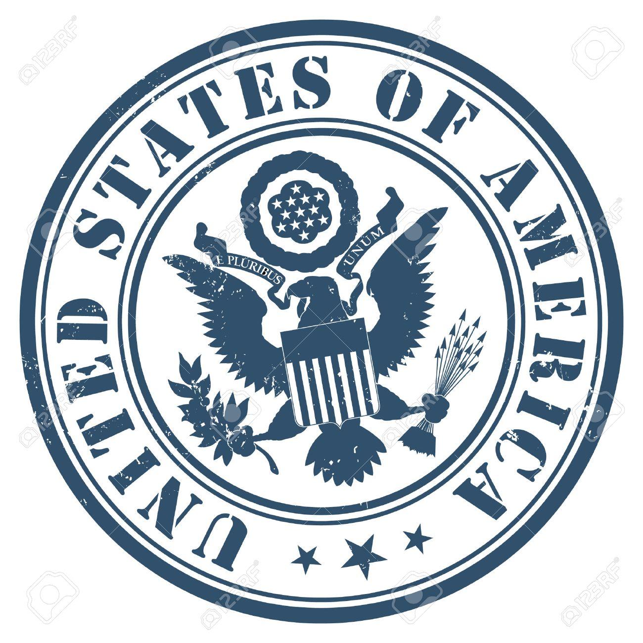 US passport seal gold on dark blue background. - 52359074