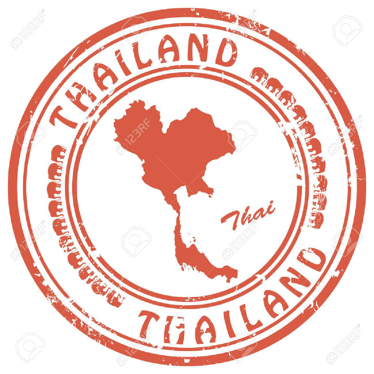 stamp with Thailand map - 52359390