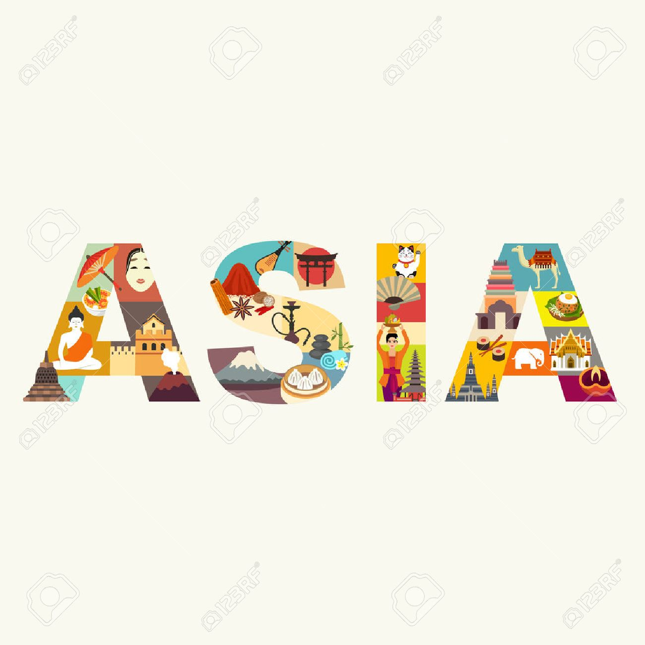 Asia. Travel vector illustration - 53709214