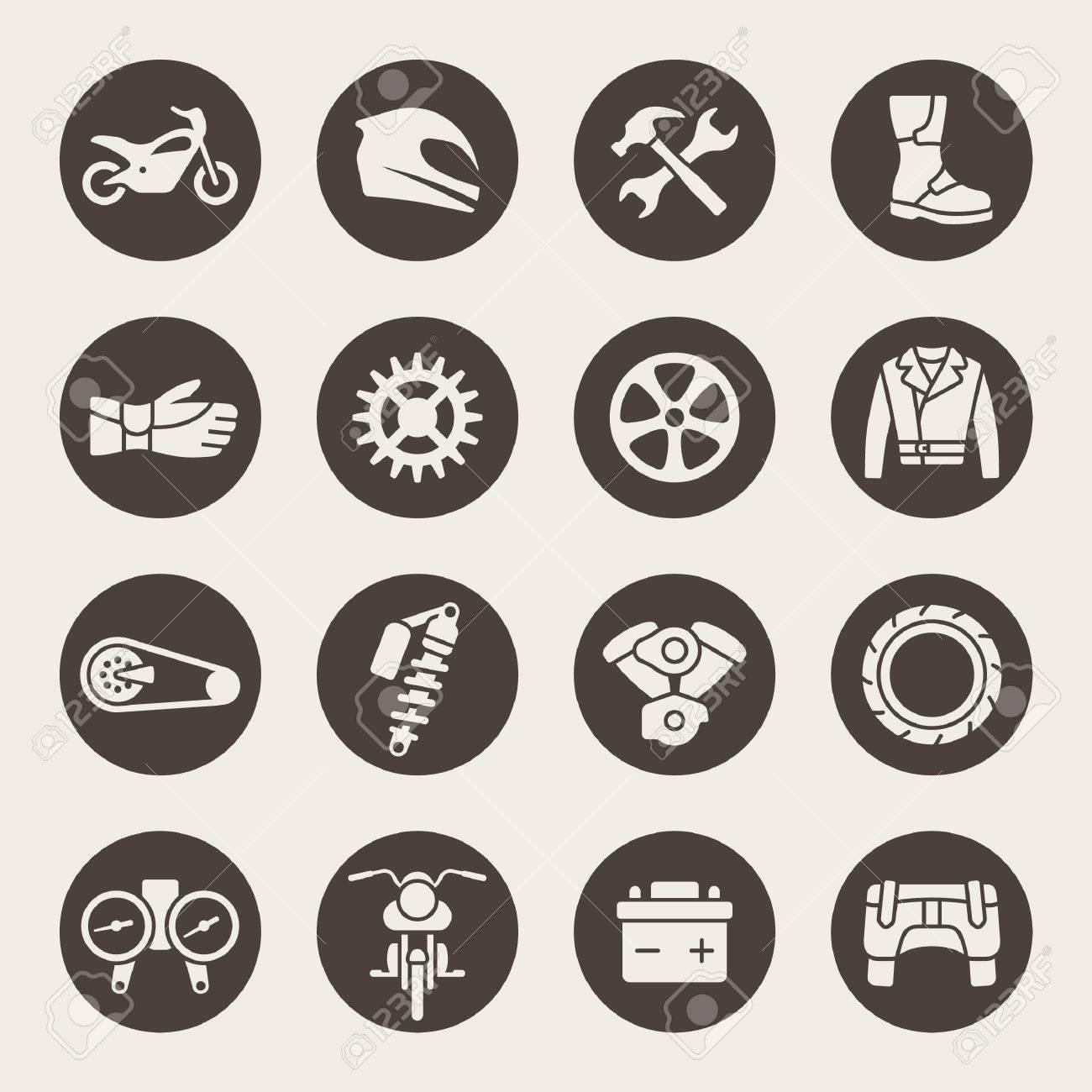 Motorcycle Parts Icon Set