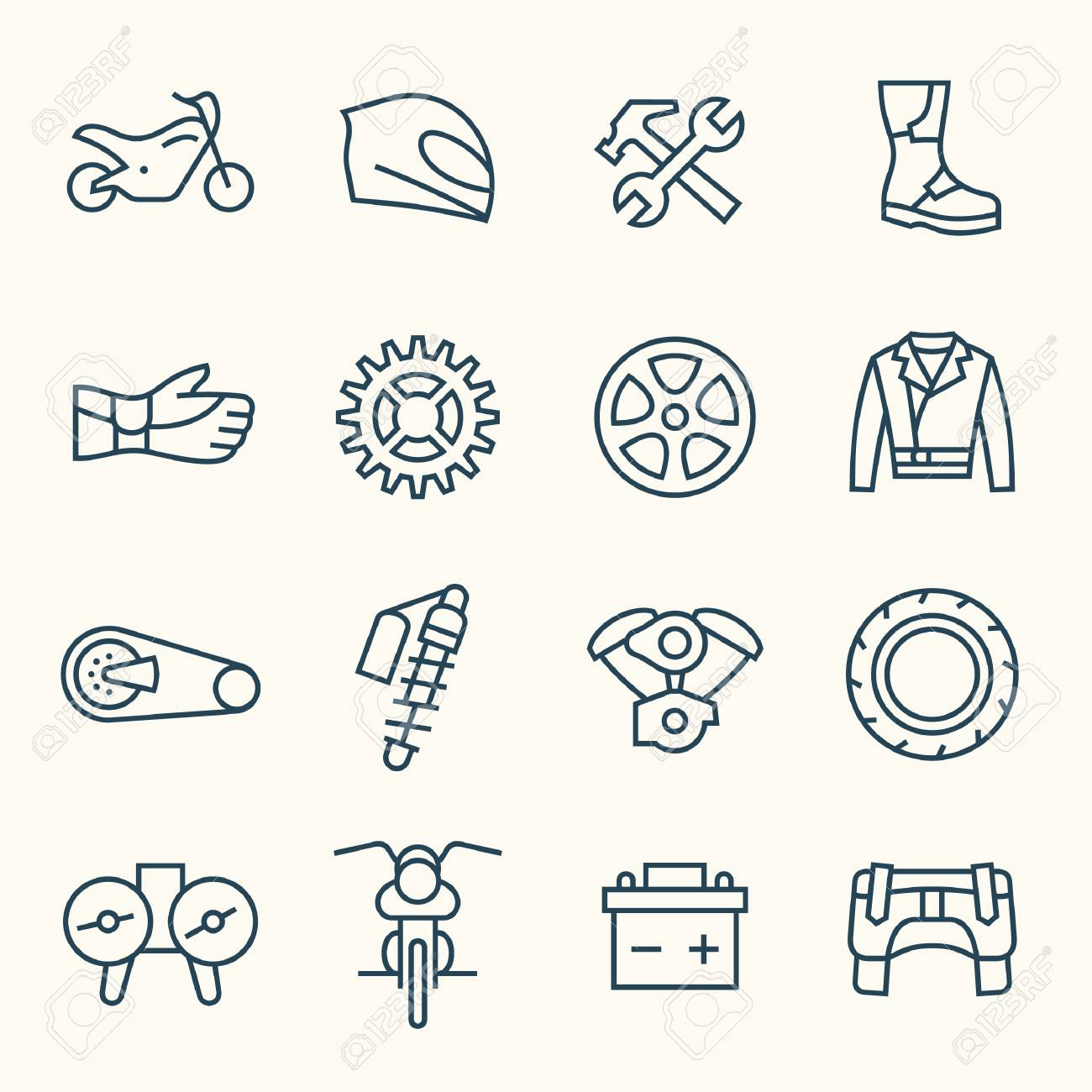 Motorcycle Parts Vector Icons