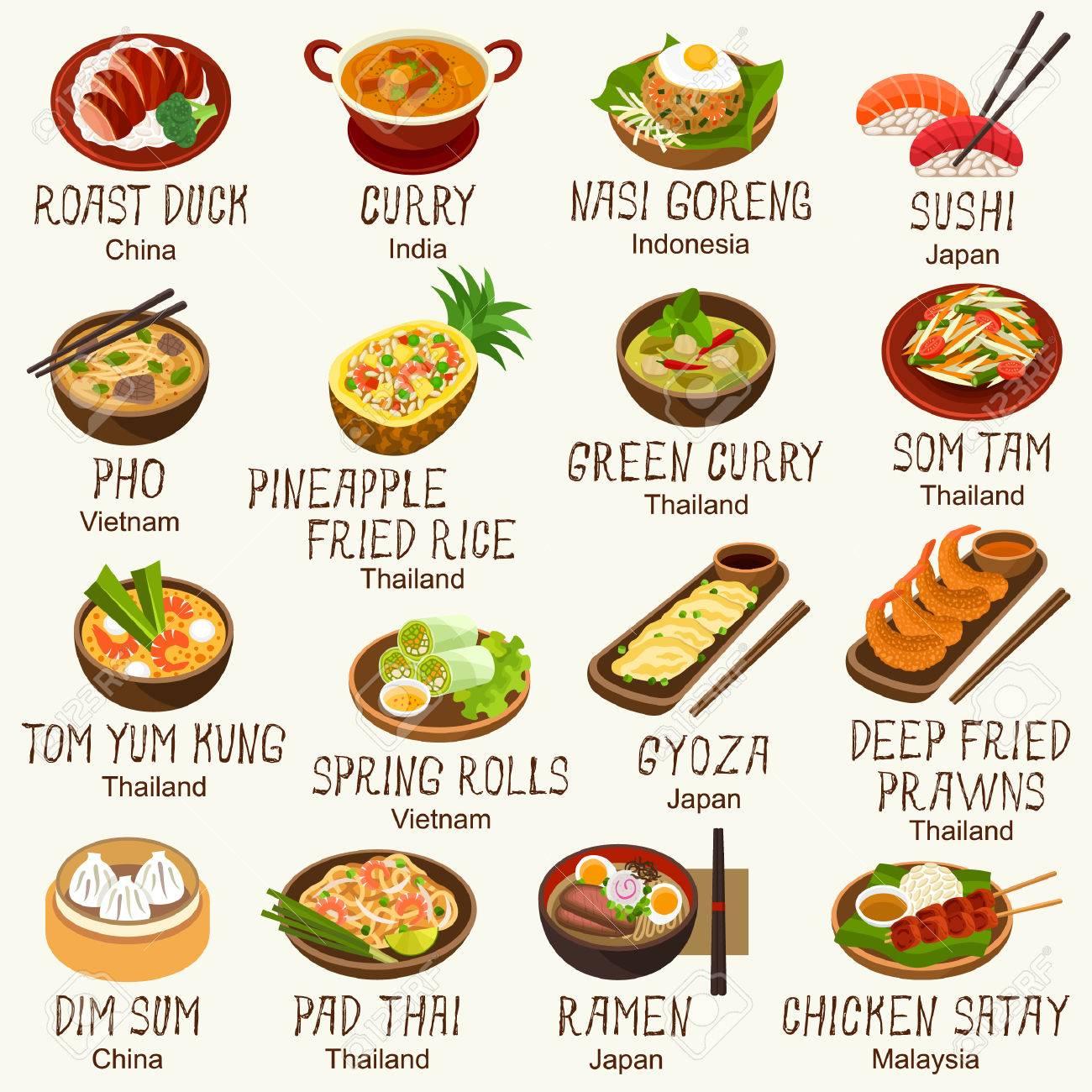 Asian foods vector set - 79333826