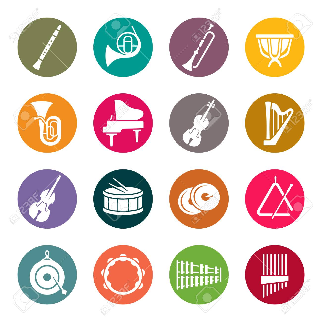 Orchestra instruments colourful icons - 98262482