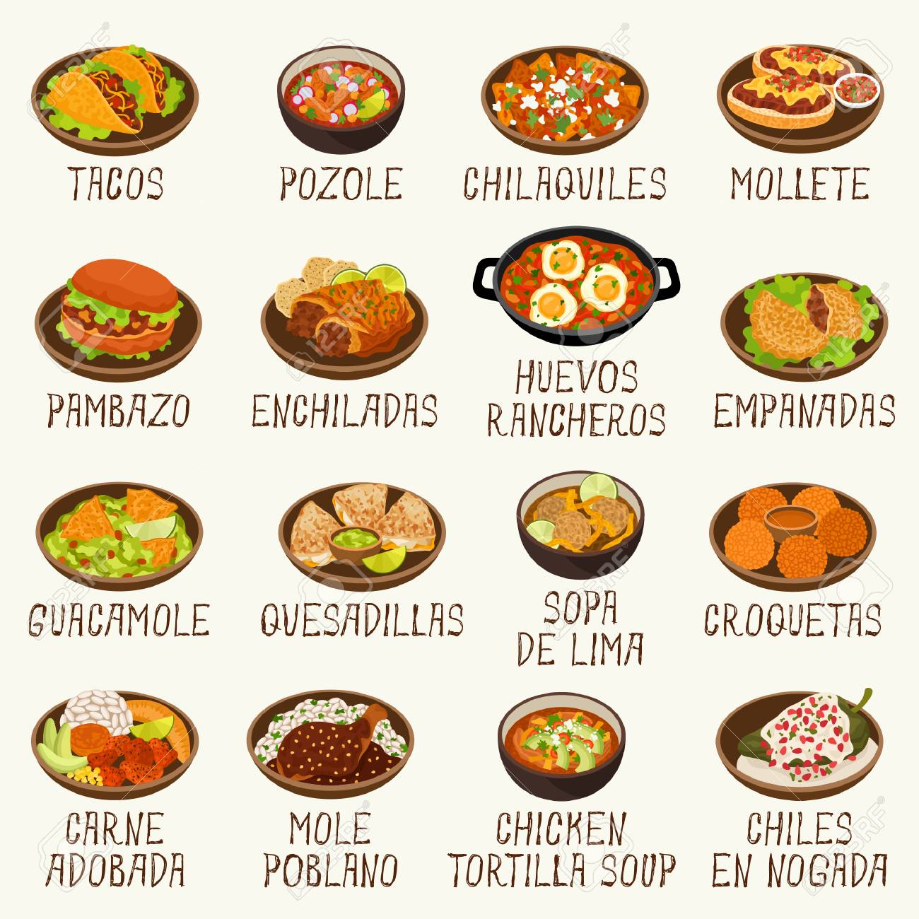 Mexican food menu. Mexican restaurant menu template with traditional spicy  food cuisine vector illustration.