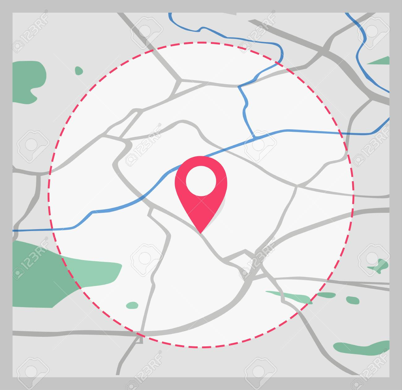 Vector Icon. Map Of The City. Point On The Map. Pin And The Distance on