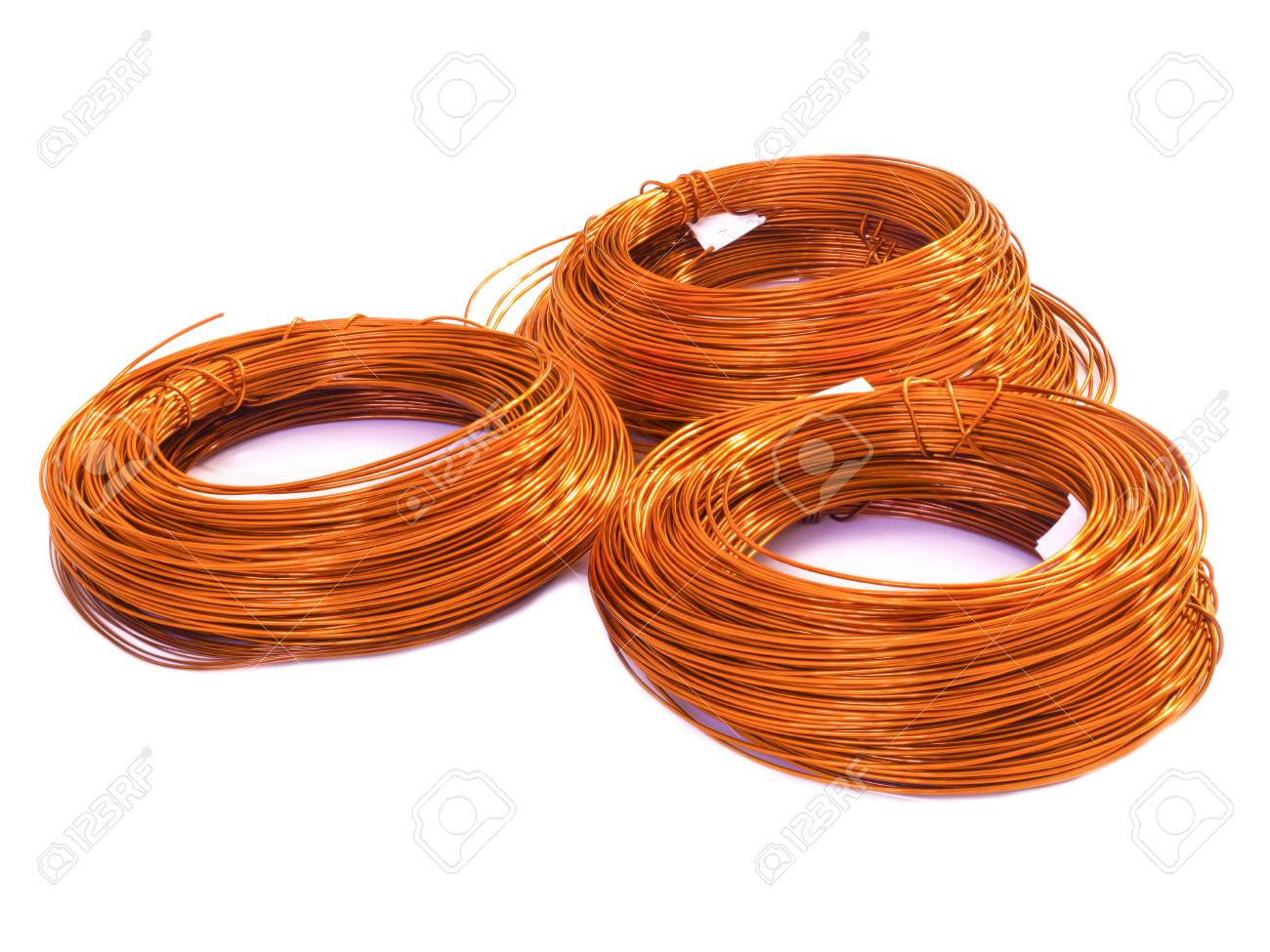 Coil Of Copper Wire On White Background Stock Photo, Picture And ...