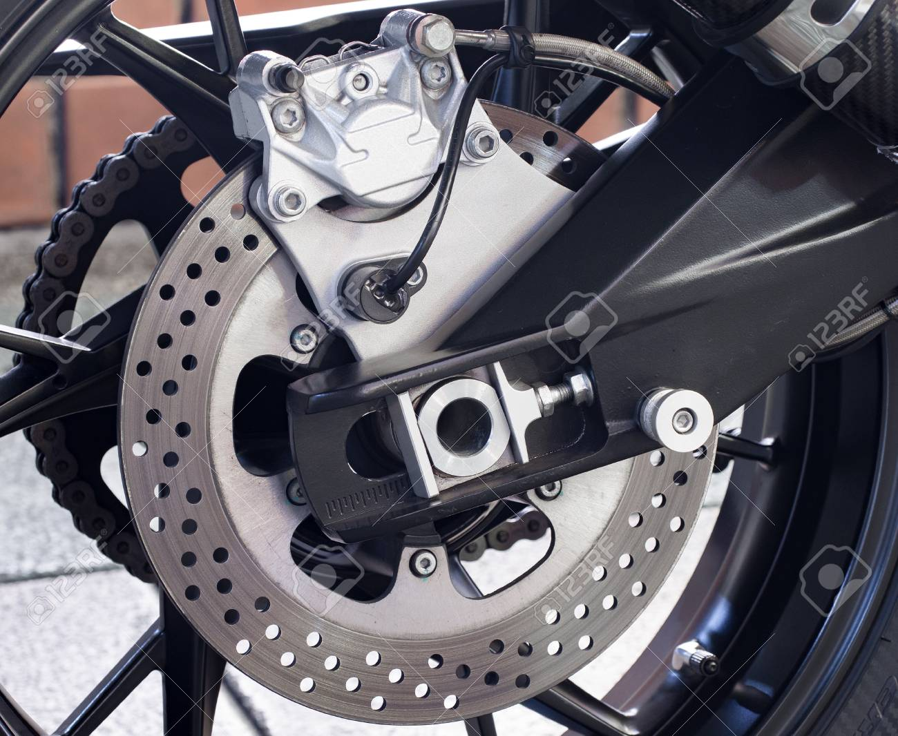 Close Up Shot On Disk Brake System On The Motorbike Or Big Bike Stock Photo Picture And Royalty Free Image Image 55517989