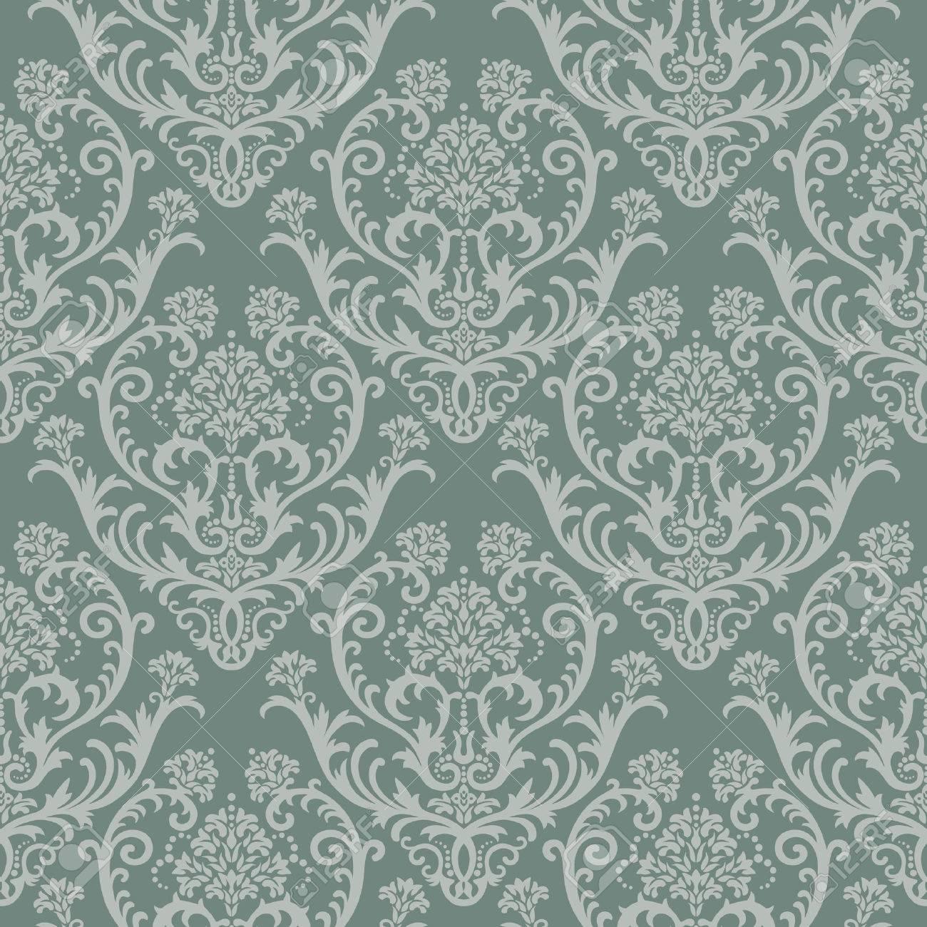 Seamless green floral damask wallpaper Stock Vector - 5678960