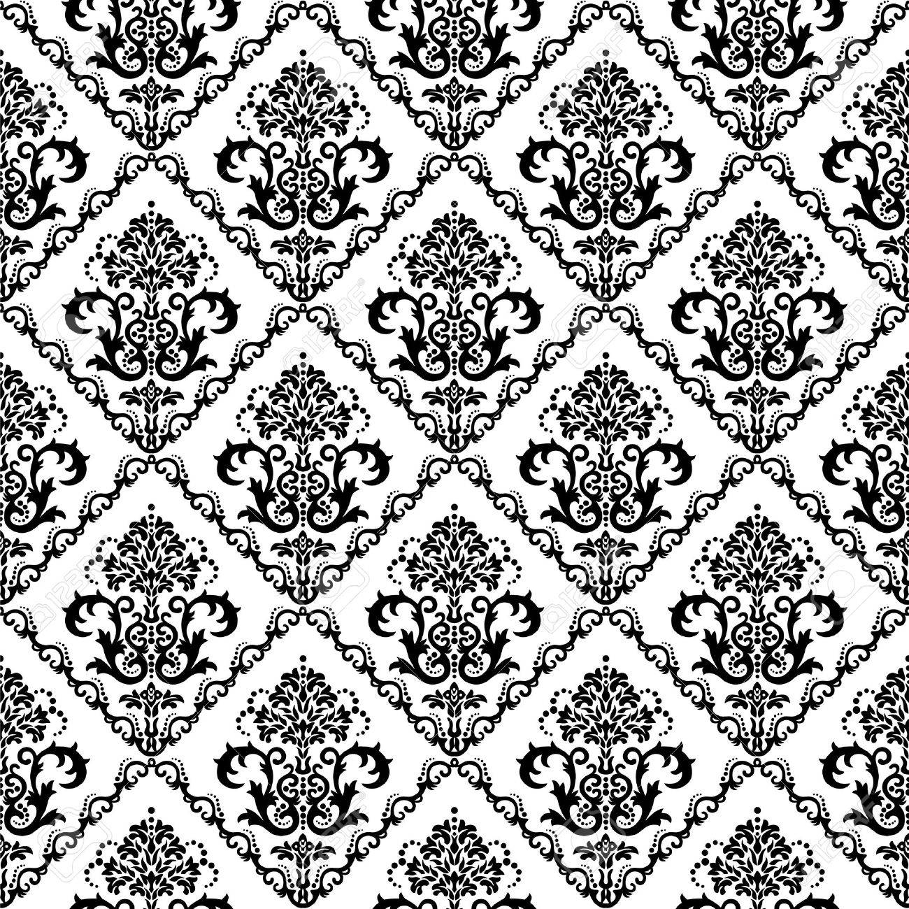 Seamless black & white floral damask wallpaper Stock Vector - 5914802