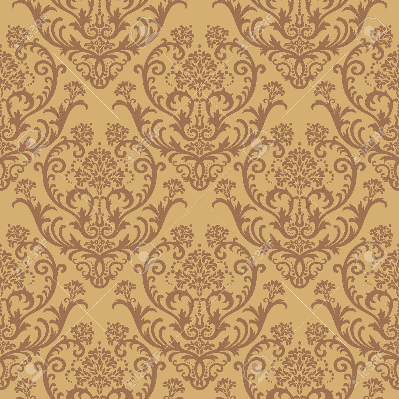 photo collection damask seamless brown wallpaper