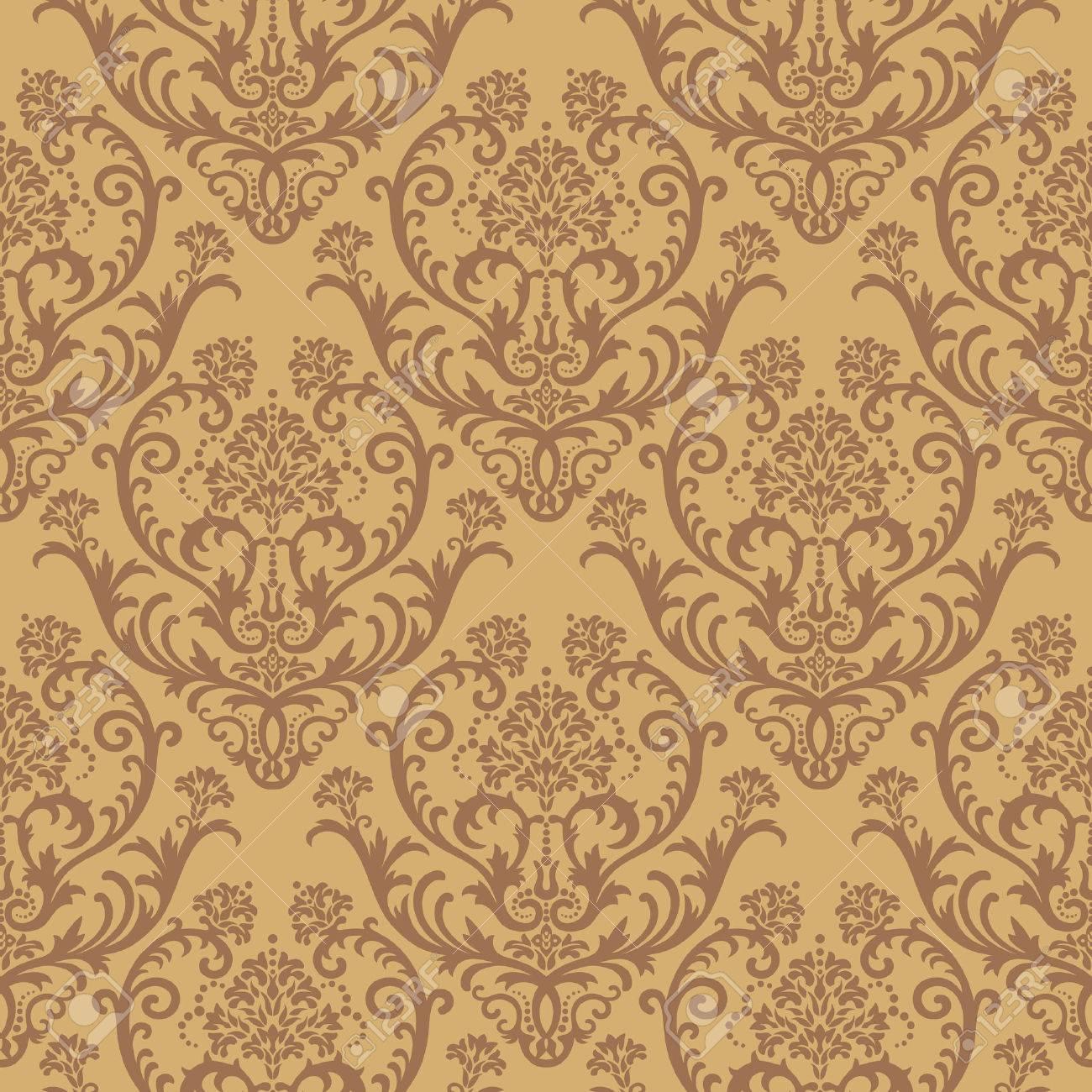 Seamless brown floral damask wallpaper Stock Vector - 5914791