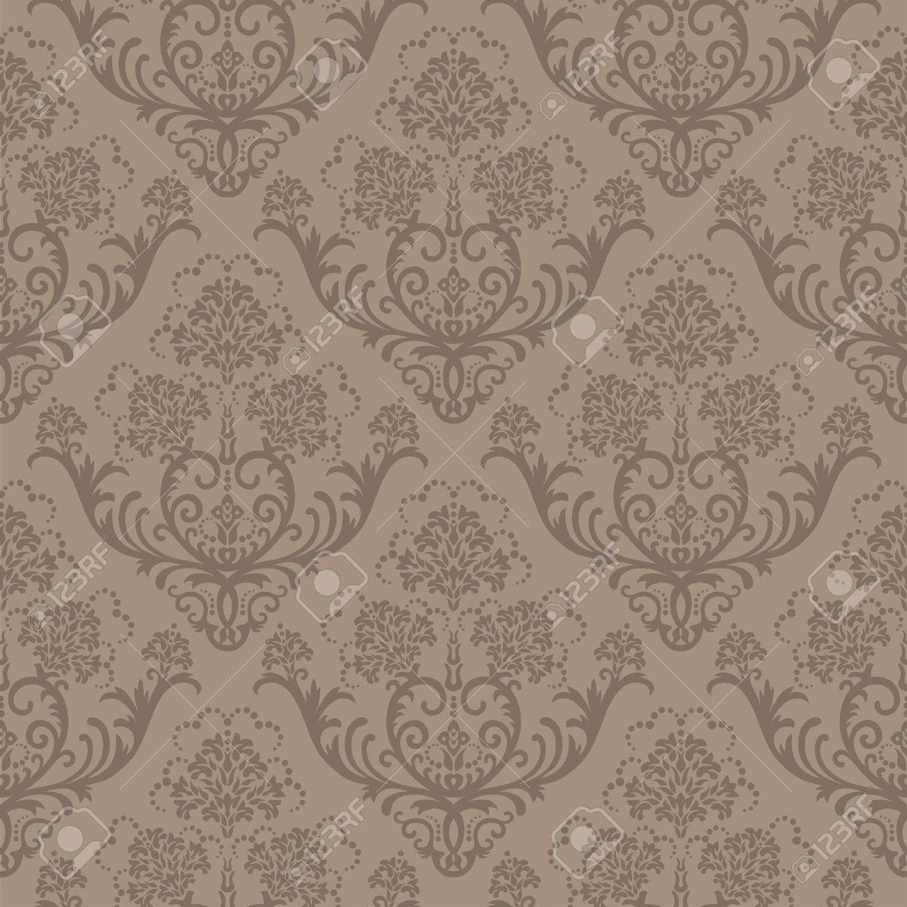 Seamless Brown Floral Damask Wallpaper Royalty Free Cliparts