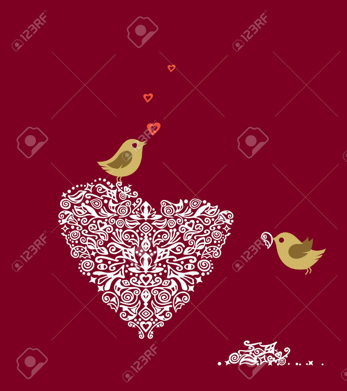 Love birds making their heart nest and singing Stock Vector - 5914798