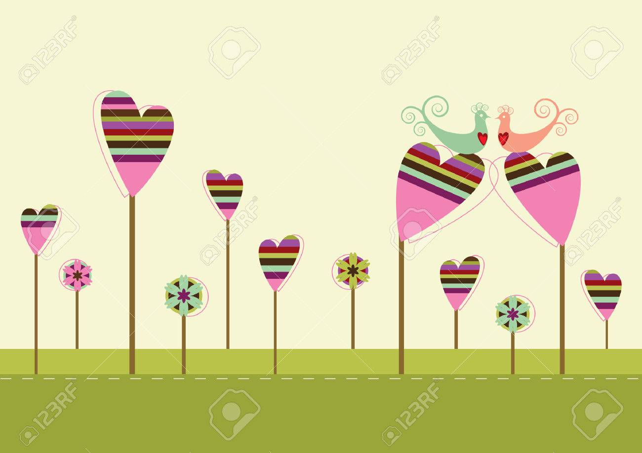 Love birds sitting on the heart shaped trees in the love garden Stock Vector - 5914751