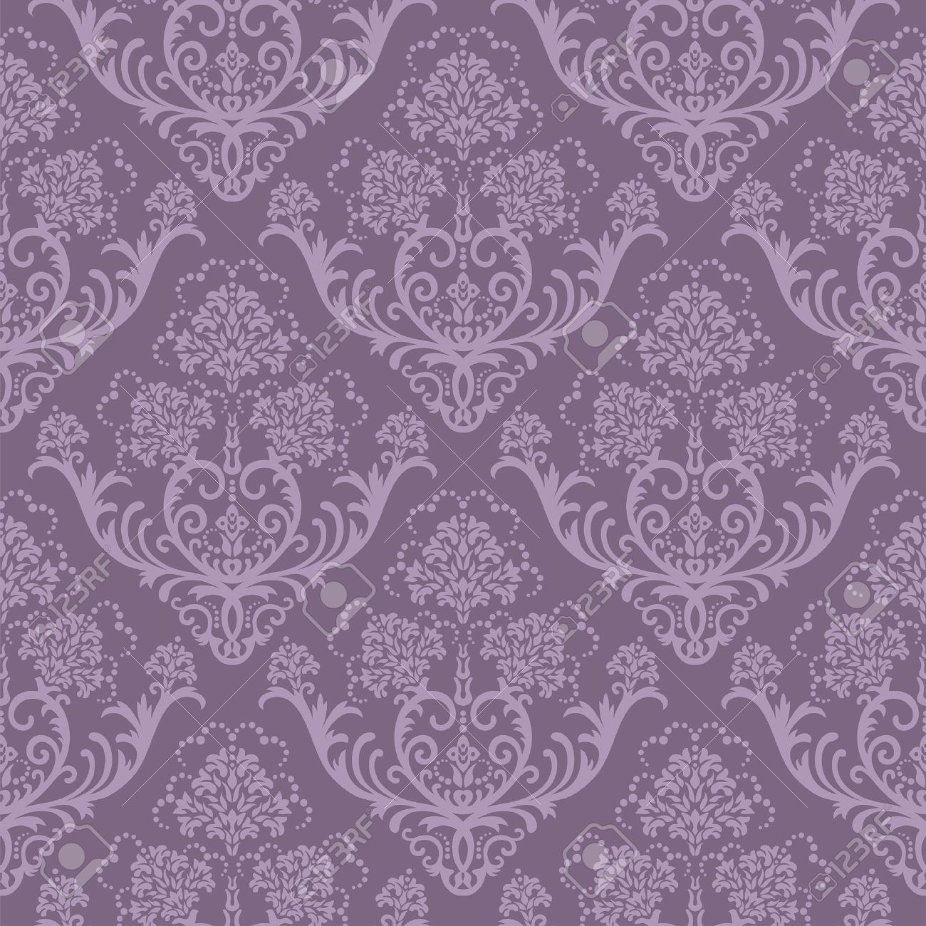 Seamless Purple Floral Damask Wallpaper Royalty Free Cliparts