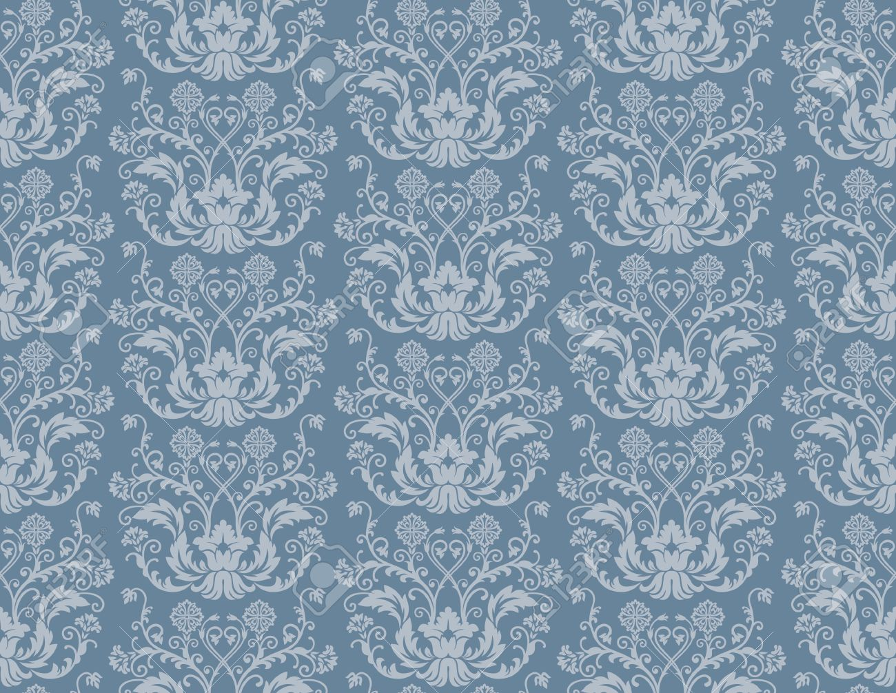 Seamless Blue Floral Damask Wallpaper Royalty Free Cliparts