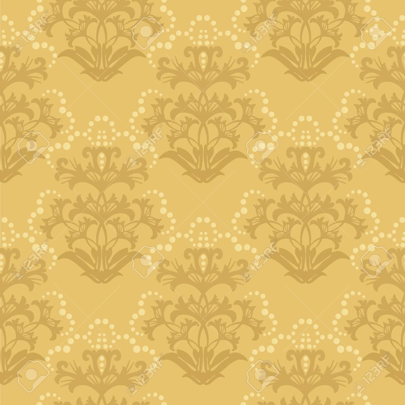 Seamless Golden Floral Wallpaper Stock Vector