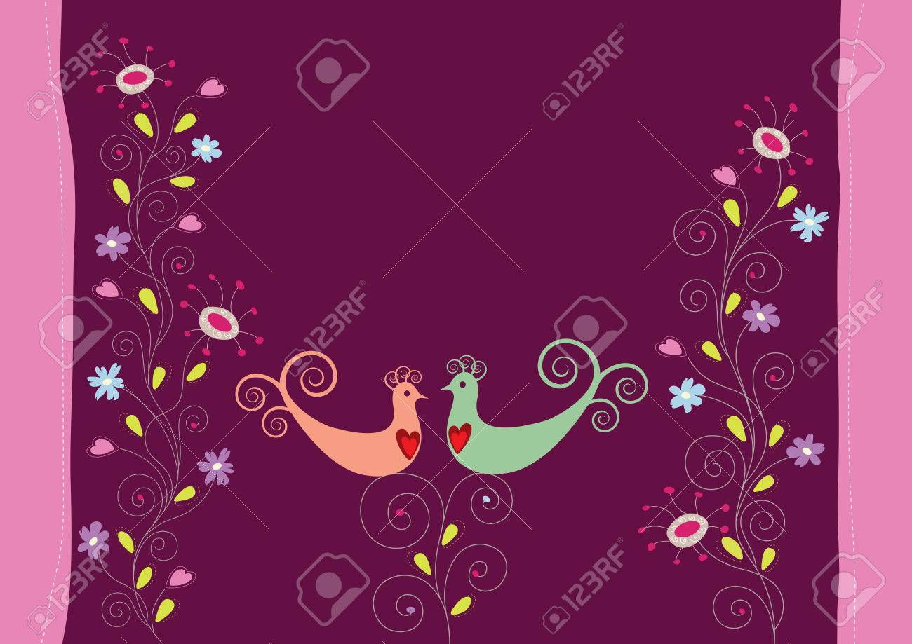 Love birds and flowers Stock Vector - 6167902