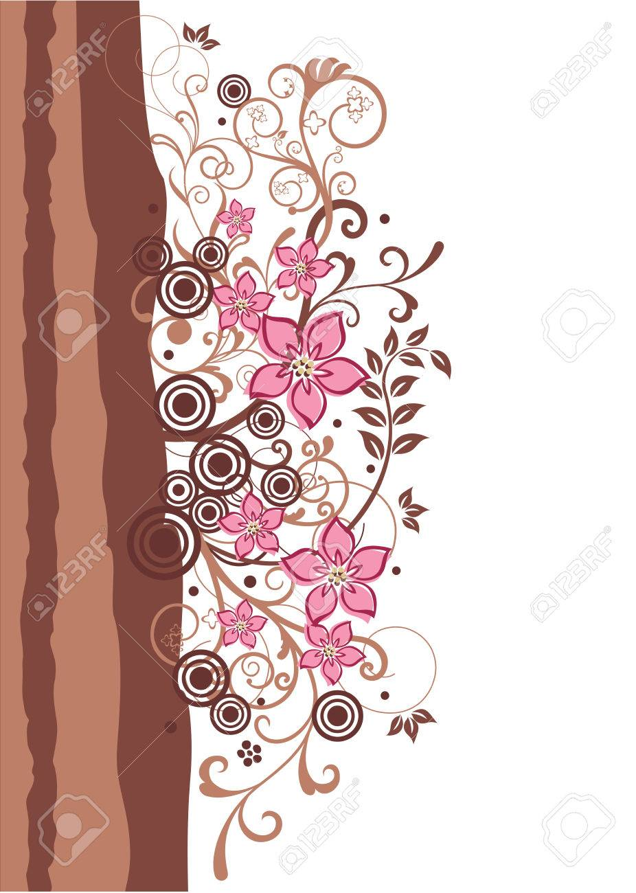 Brown and pink floral border Stock Vector - 7056724