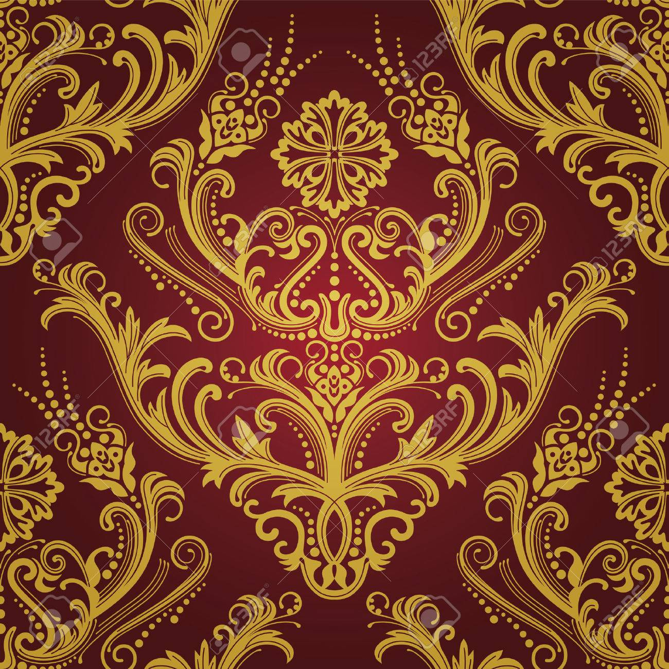 Luxury Red Gold Floral Damask Wallpaper Royalty Free Cliparts