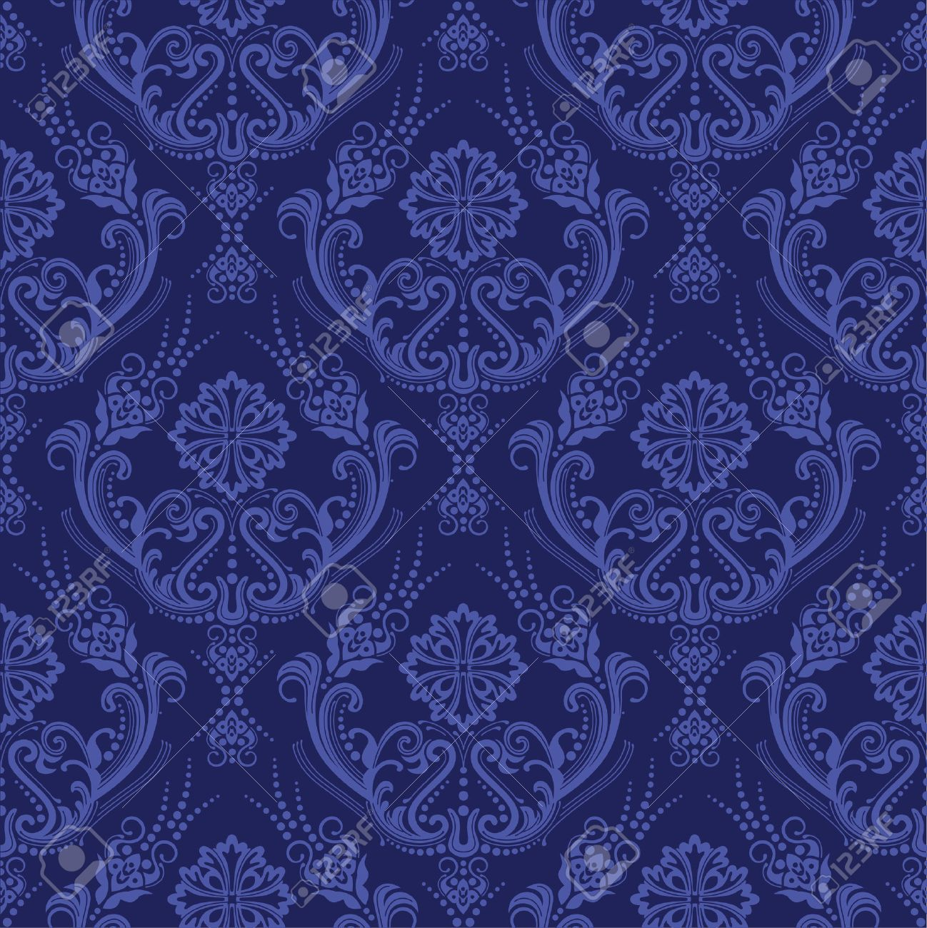 Luxury Blue Floral Damask Wallpaper Royalty Free Cliparts Vectors
