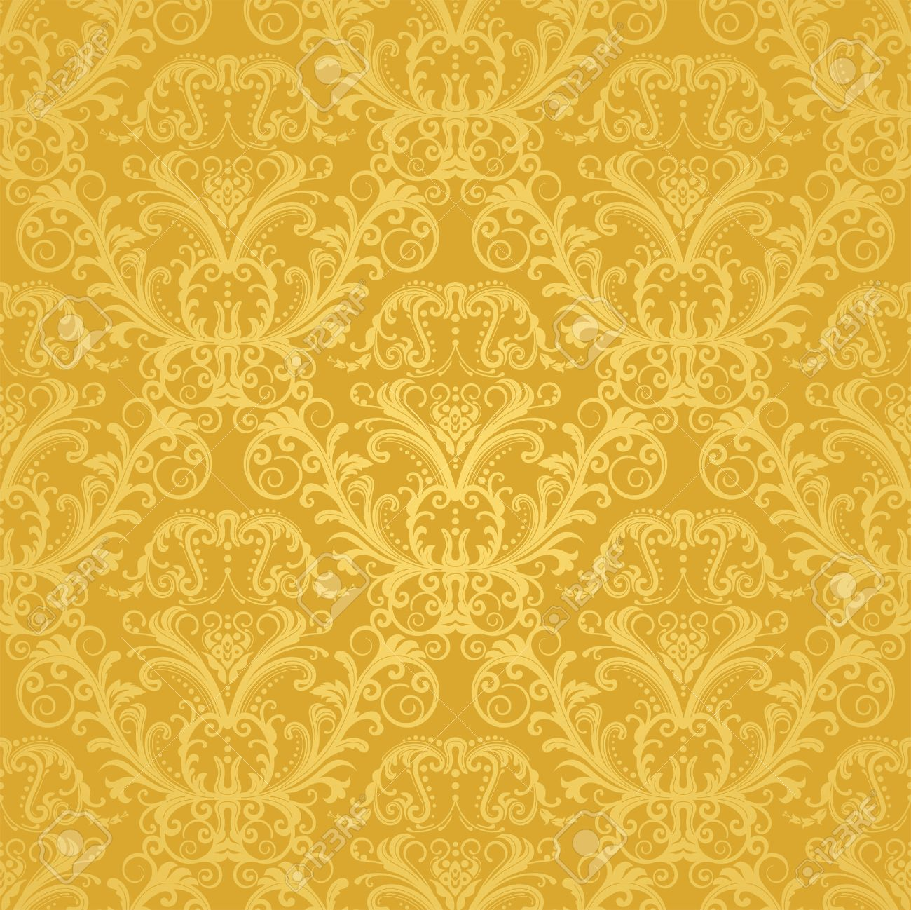 Luxury Seamless Golden Floral Wallpaper Stock Vector