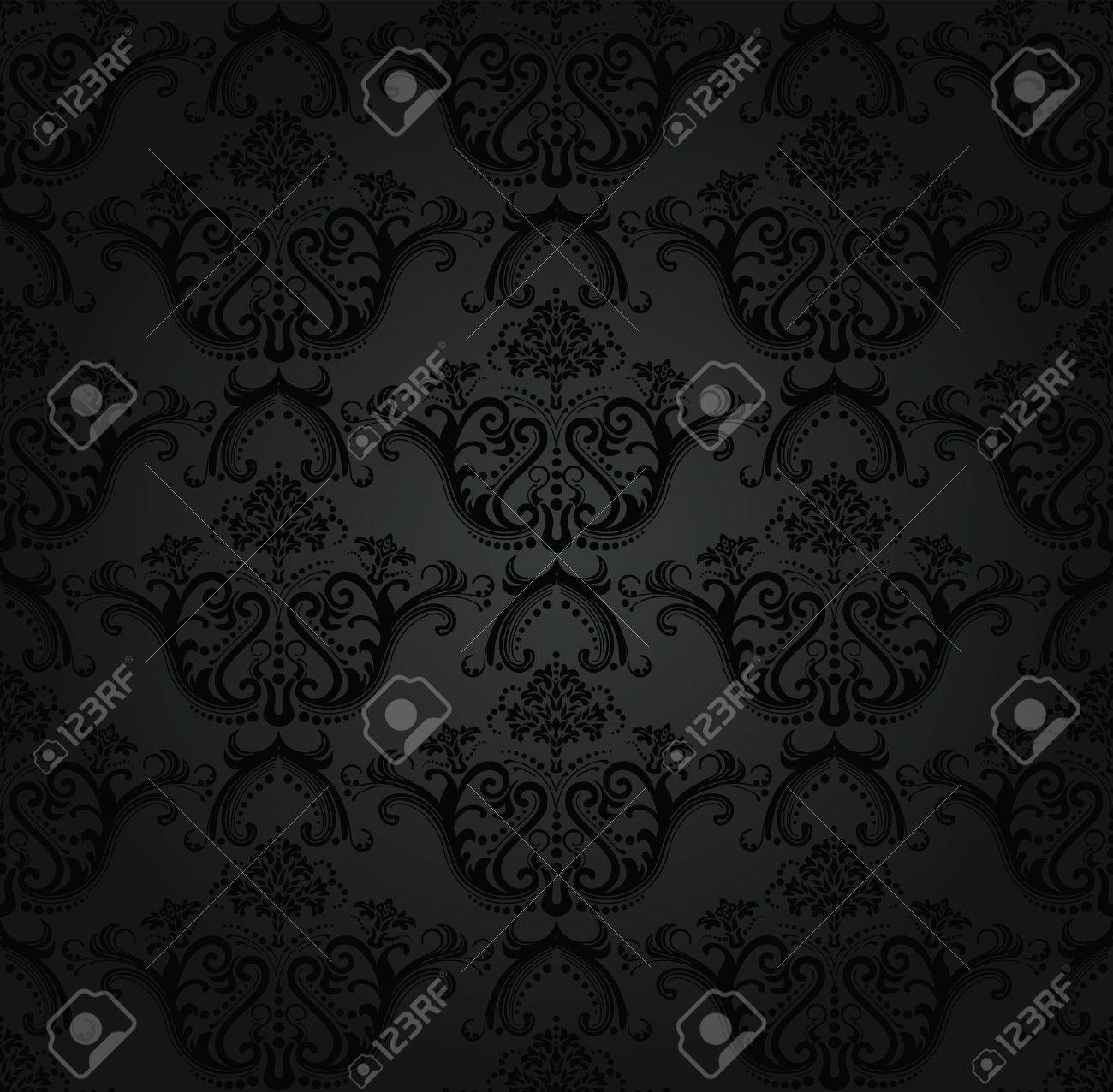 Charcoal floral seamless wallpaper Stock Vector - 8629542