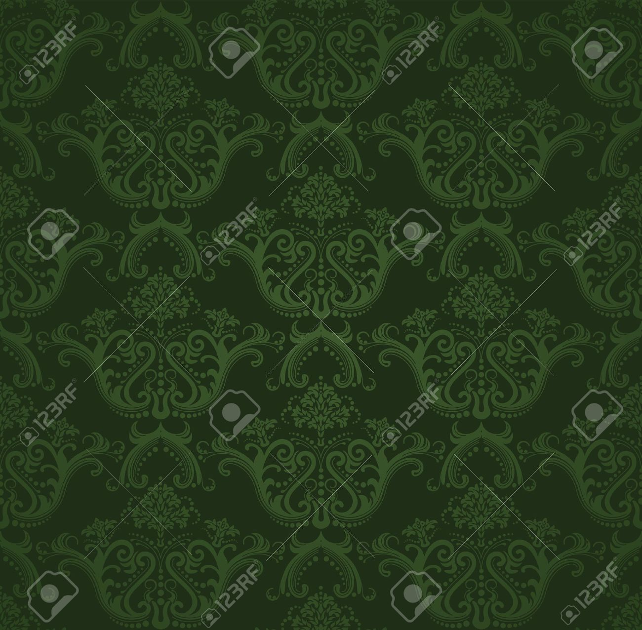 Dark Green Floral Wallpaper Royalty Free Cliparts Vectors And