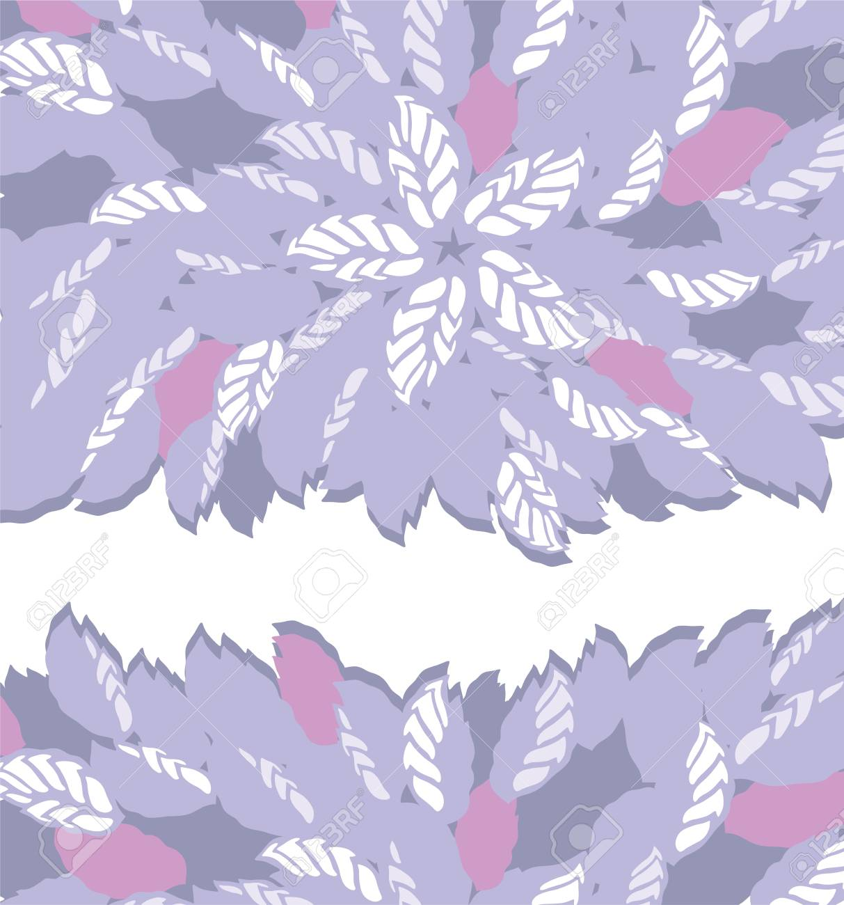 Purple And Pink Flower And Leaves Borders Royalty Free Cliparts