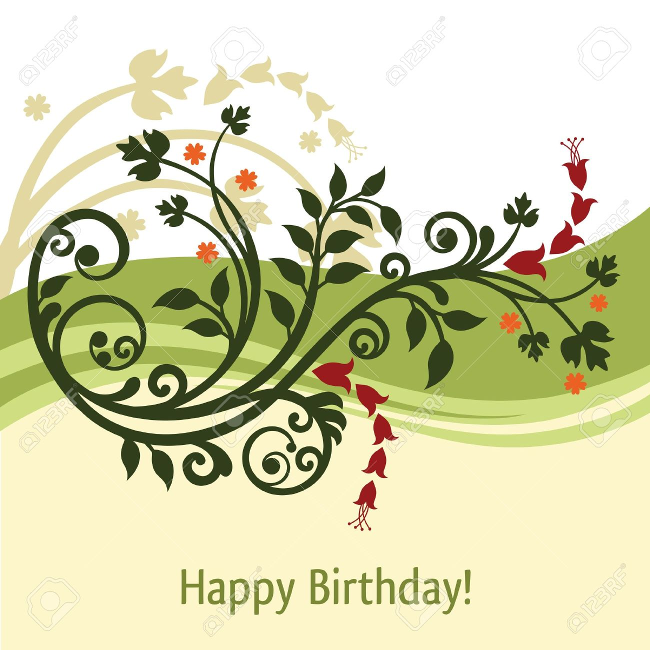 Green and yellow birthday card Stock Vector - 10269679