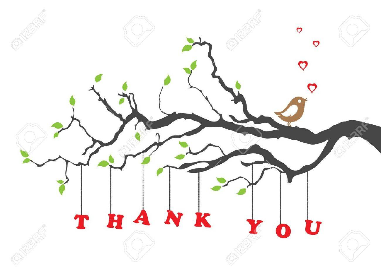 Thank you greeting card with bird royalty free cliparts vectors thank you greeting card with bird stock vector 10439208 m4hsunfo