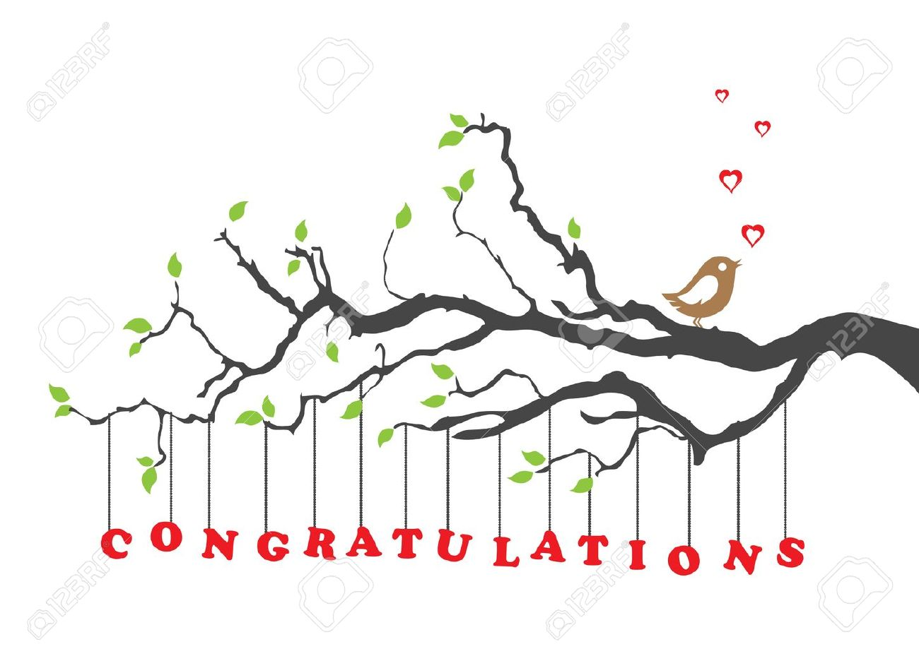 Congratulations card greeting with bird Stock Vector - 11262511