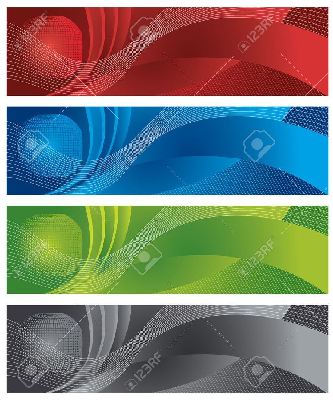 Globe and halftone digital banners Stock Vector - 11262512