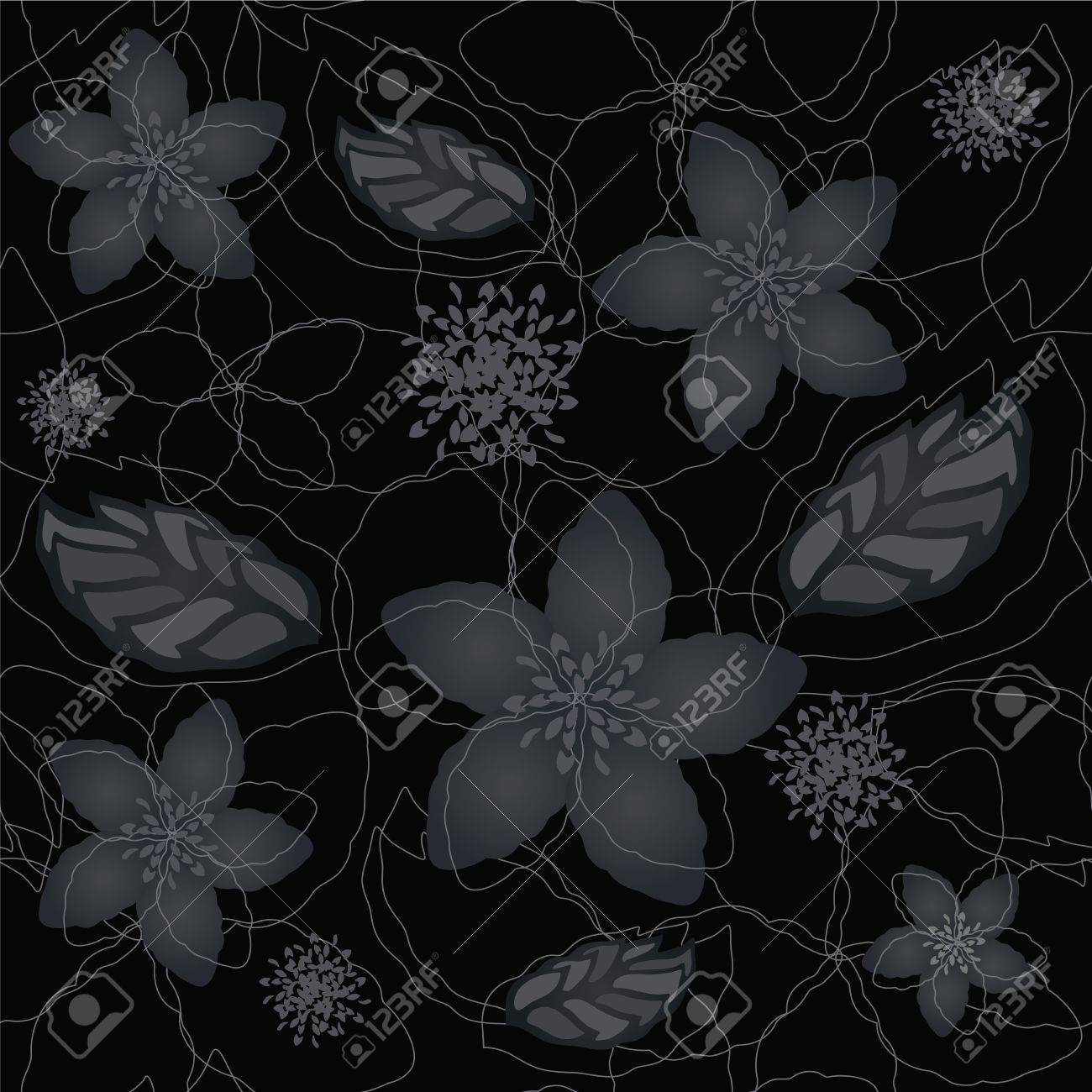 Seamless Black And Silver Floral Wallpaper Pattern Royalty Free