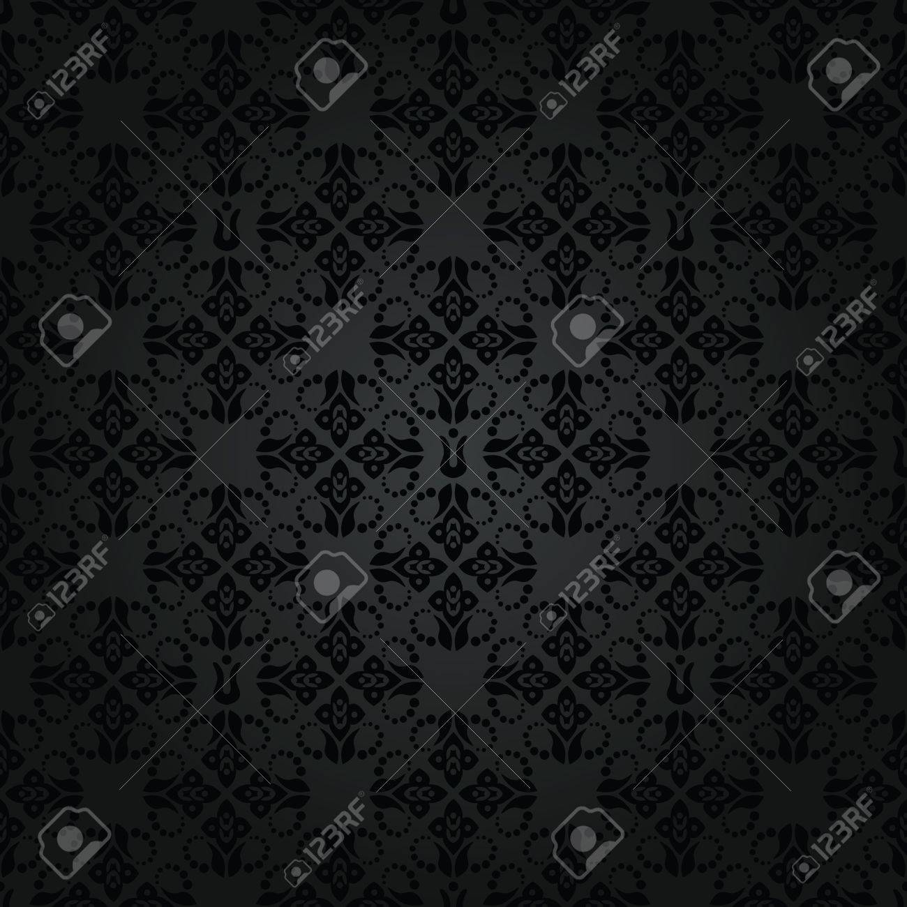 Seamless black small floral elements wallpaper pattern Stock Vector - 15312025